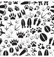 animal footprints black and white seamless pattern vector image vector image
