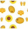 Beekeeping pattern cartoon style vector image