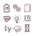 business icon set isolated on white background vector image