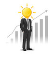 businessman with light bulb head managed to raise vector image vector image