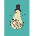 Calligraphic retro Christmas card with snowman vector image