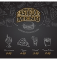 Chalkboard fast food menu in hand drawn style vector image