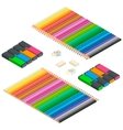 Color pencils Multicolored highlighters vector image