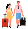 couple tourists with suitcases on wheels vector image