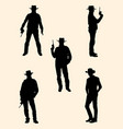 cowboy detail silhouette vector image