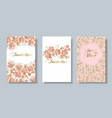 decorative sakura flowers card set vector image
