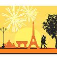 Eiffel Tower and fireworks vector image vector image