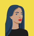 face avatar beautiful woman on yellow vector image vector image