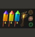firecracker and festive firework light set vector image vector image