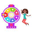 fortune wheel happy winner prize in casino vector image vector image