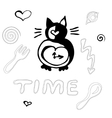 Free hand cat clock vector image vector image