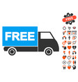 free shipment icon with lovely bonus vector image vector image