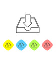 grey download inbox line icon isolated on white vector image vector image