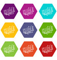 haha comic text sound effect icon set color vector image vector image