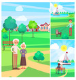 happy senior couple in park poster people outside vector image vector image
