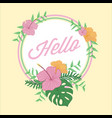 hello tropical flower greeting design vector image