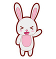 line color cute and cheerful rabbit wild animal vector image vector image