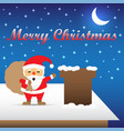 merry christmas - santa claus carrying gift bag vector image vector image