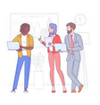 multi ethnic group young people vector image vector image