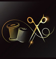 needle scissors and thread gold symbol for sewing vector image vector image