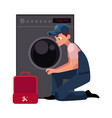 plumbing specialist plumber with toolbox fixing vector image