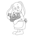 rabbit girl with flowers vector image vector image