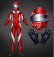 racing driver suit elements realistic set vector image vector image