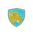 Razorback Head Charge Shield Cartoon vector image vector image