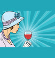 retro lady with a glass of wine vector image vector image