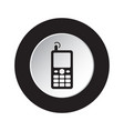 round black white button - old mobile phone icon vector image vector image