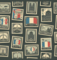 seamless pattern with french postage stamps vector image vector image