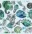 seamless watercolor pattern with sea organisms vector image vector image