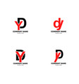 set initial letter dy logo template design vector image vector image