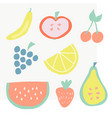set summer fruit icons vector image