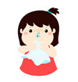sick girl runny nose vector image vector image