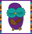 sleeping cute funny owl hand drawn vector image