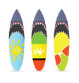 surfboard with shark on it set leisure vector image vector image