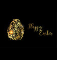 the easter egg golden egg on the black background vector image