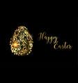 the easter egg golden egg on the black background vector image vector image