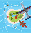 top view of airplane flying over island vector image vector image