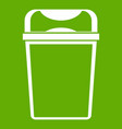 trash can icon green vector image