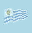 uruguay flag on blue background wave strip vector image vector image
