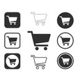 web store shopping cart icon shape button set vector image vector image