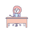 woman teacher sitting and explaining to the vector image vector image