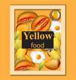 yellow food set melon eggs and fruits vector image vector image