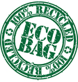 100 percent recycled eco bag stamp vector image vector image