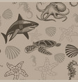 aquatic seamless pattern vector image vector image