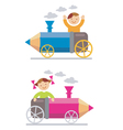 boy girl crayon locomotive vector image