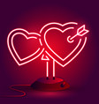 bright heart neon sign retro neon heart sign vector image vector image