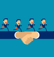 business team running on hand shake concept vector image vector image